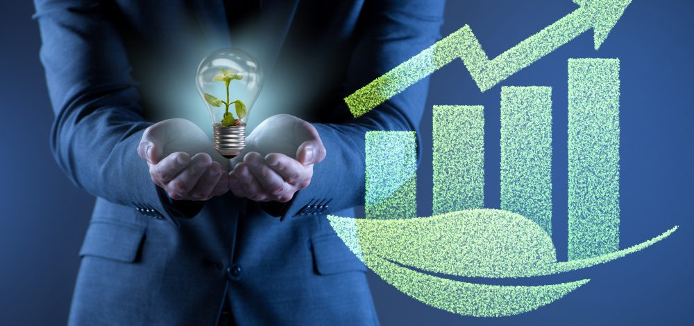 Green economy growth concept with the businessman