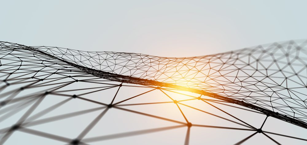 Networking and communication concept with connection grid. 3d rendering