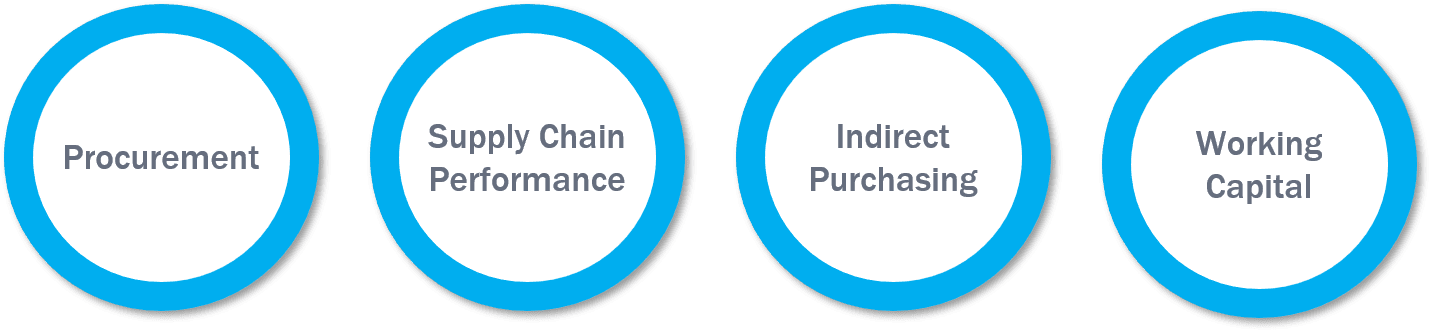 Categories we use to help serve R&D needs: Procurement, Supply Chain Performance, Indirect Purchasing, and Working Capital.